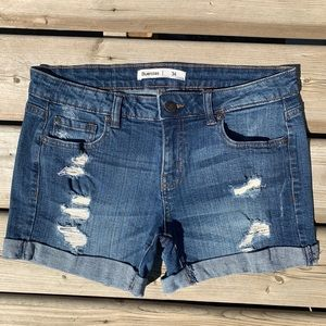 2/$20 Mid Rise Distressed Mid Length Jean Shorts